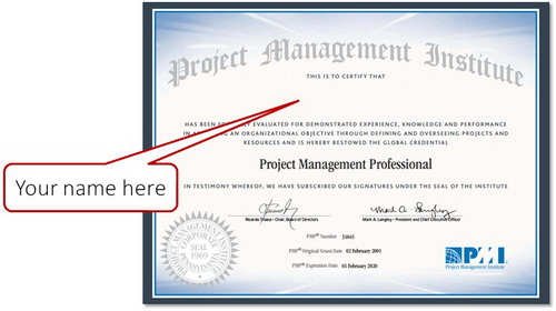PMP Certificate PMI YourName